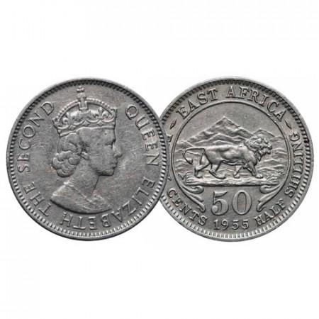 "1955 H * 50 Cents - 1/2 Shilling Africa Orientale Britannica - British East Africa ""Elisabetta II"" (KM 36) BB"