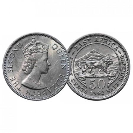 "1962 KN * 50 Cents - 1/2 Shilling Africa Orientale Britannica - British East Africa ""Elisabetta II"" (KM 36) SPL+"