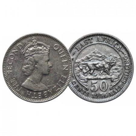 "1956 KN * 50 Cents - 1/2 Shilling Africa Orientale Britannica - British East Africa ""Elisabetta II"" (KM 36) BB+"