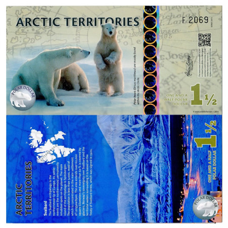 "2014 * Banconota Polimera Territori Artici 1,5 Polar Dollar ""Svalbard"" FDS"
