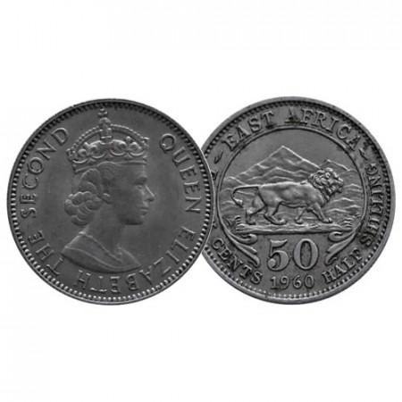 """1960 * 50 Cents - 1/2 Shilling Africa Orientale Britannica - British East Africa """"Elisabetta II"""" (KM 36) BB"""