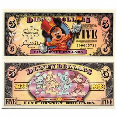 "2008 * Banconota Disney 5 Disney Dollars ""Mickey Mouse - 80° Anniversary"" (pR144) FDS"