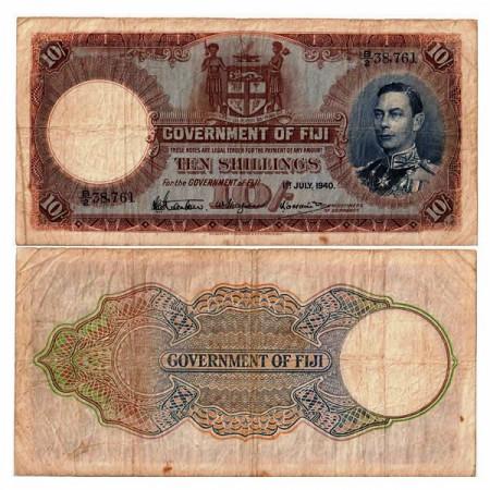 """1940 * Banconota Fiji 10 Shillings """"George VI"""" (p38c) qBB"""