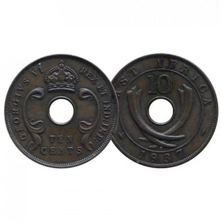 "1937 KN * 10 Cents Africa Orientale Britannica - British East Africa ""Giorgio VI"" (KM 26.1) BB+"