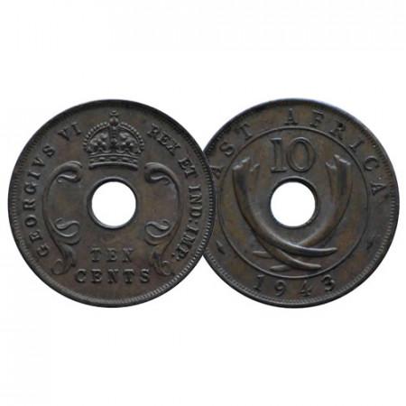 """1943 SA * 10 Cents Africa Orientale Britannica - British East Africa """"Giorgio VI"""" (KM 26.2) BB+"""
