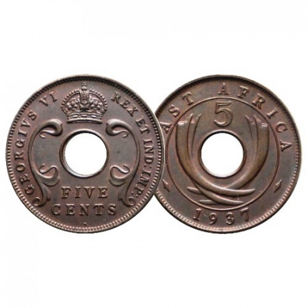 "1937 H * 5 Cents Africa Orientale Britannica - British East Africa ""Giorgio VI"" (KM 25.1) FDC"