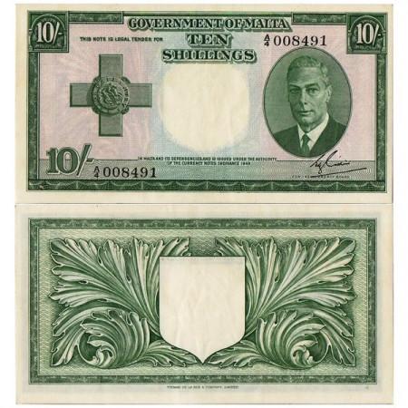 """L.1949 (1951) * Banconota Malta 10 Shillings """"George VI"""" (p21) SPL"""