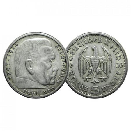 """1935 A * 5 Reichsmark Argento GERMANIA """"Terzo Reich - Hindenburg"""" (KM 86) BB+"""