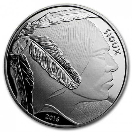 """2016 * Troy Ounce 1 OZ Oncia Argento """"Stati Uniti - Sioux - American Bison"""" FDC"""