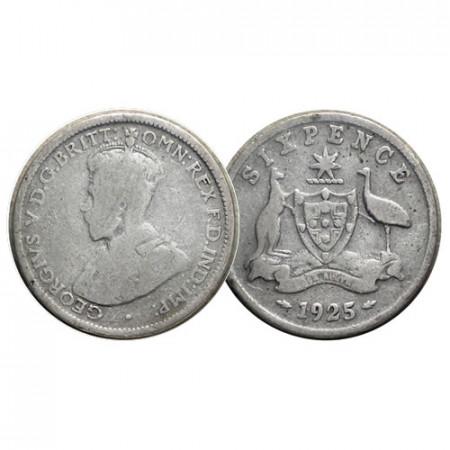 "1925 (m sy) * Sixpence (6 Pence) Argento Australia ""Giorgio V - Stemma"" (KM 25) MB"