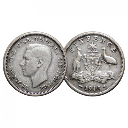 "1945 (m) * Sixpence (6 Pence) Argento Australia ""Giorgio VI - Stemma"" (KM 38) BB"