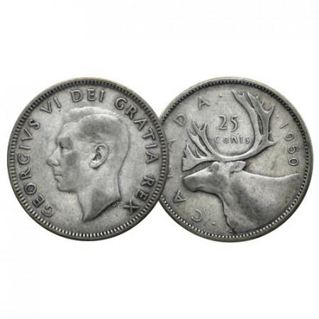 """1950 * Quarter Dollar (25 Cents) Argento Canada """"Giorgio VI – Caribou"""" (KM 44) BB"""