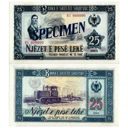 "1964 * Banconota Albania 25 Leke ""Peasant Woman - Specimen"" (p37s) FDS"