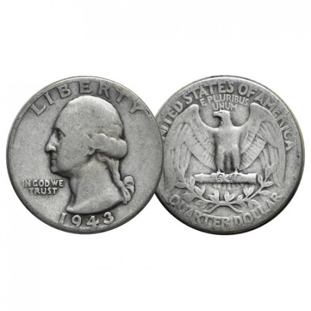 "1943 (P) * Quarto di Dollaro (25 Cents) Argento Stati Uniti ""Washington Quarter"" (KM 164) MB+"