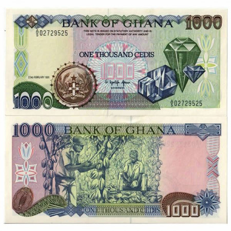 "1991 * Banconota Ghana 1000 Cedis ""Diamonds"" (p29a) qFDS"