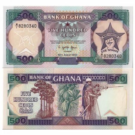 "1993 * Banconota Ghana 500 Cedis ""Cocoa"" (p28c) FDS"