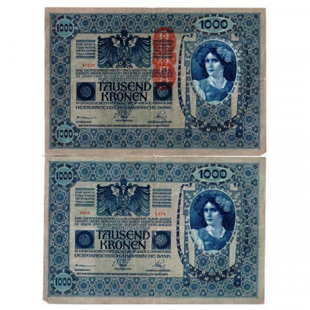 """ND (1919 - old 1902) * Banconota Austria 1000 Kronen """"Deutschosterreich"""" (p59) BB"""