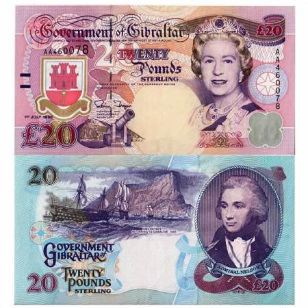 "1995 * Banconota Gibilterra 20 Pounds ""Elizabeth II - Admiral Nelson"" (p27a) SPL+"
