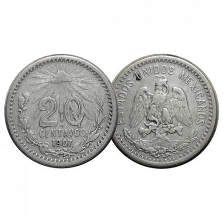"1907 (Curved 7) * 20 Centavos Argento Messico ""Liberty Cap"" (KM 435) qBB"