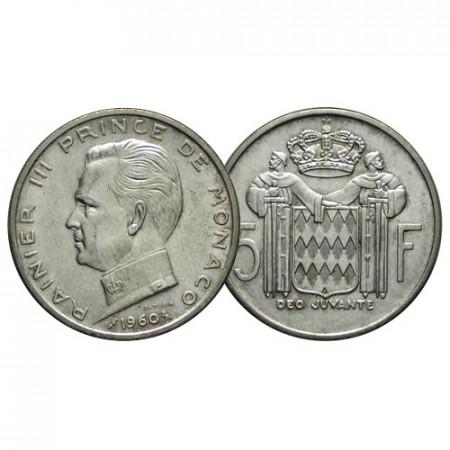 """1960 (a) * 5 Francs Argento MONACO """"Ranieri III"""" (KM 141) FDC"""