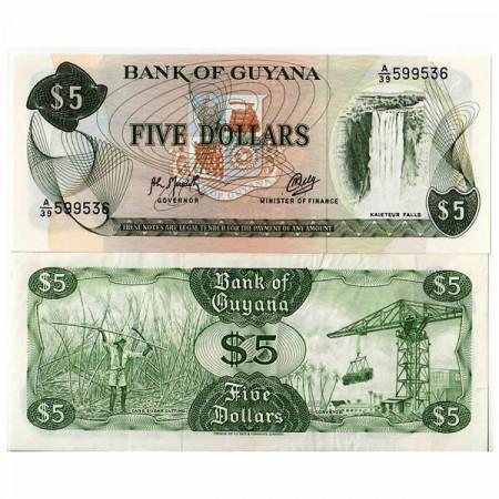"ND (1966-92) * Banconota Guyana 5 Dollars ""Kaieteur Falls"" (p22f) FDS"