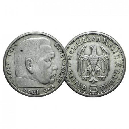 """1936 A * 5 Reichsmark Argento GERMANIA """"Terzo Reich - Hindenburg"""" (KM 86) BB"""