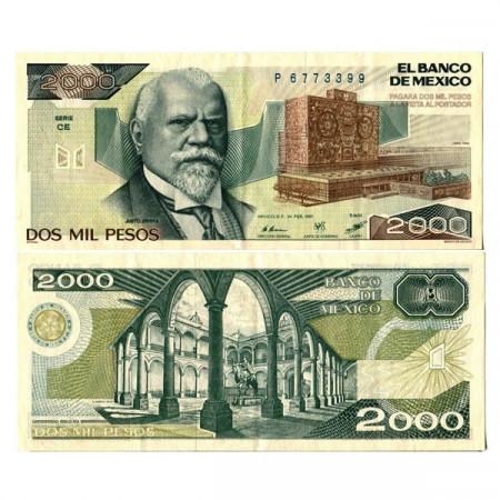 """1987 * Banconota Messico 2000 Pesos """"Justo Sierra"""" (p86b) BB+"""