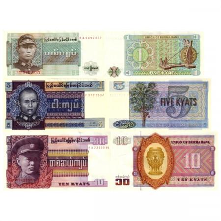 "ND (1972-73) * Set 3 Banconote Birmania (Myanmar) 1, 5, 10 Kyats ""General Aung San"" (p56, 57, 58) SPL/FDS"