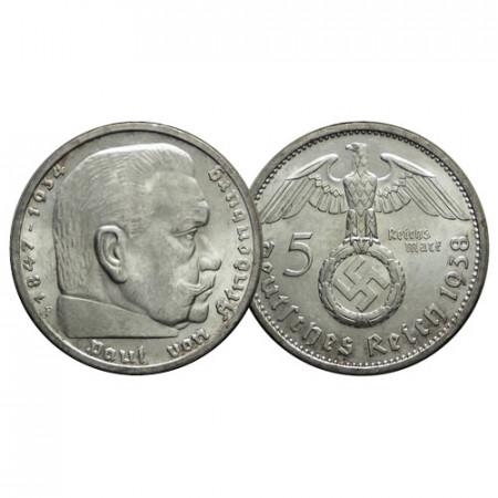 """1938 F * 5 Reichsmark Argento GERMANIA """"Terzo Reich - Hindenburg"""" (KM 94) FDC"""