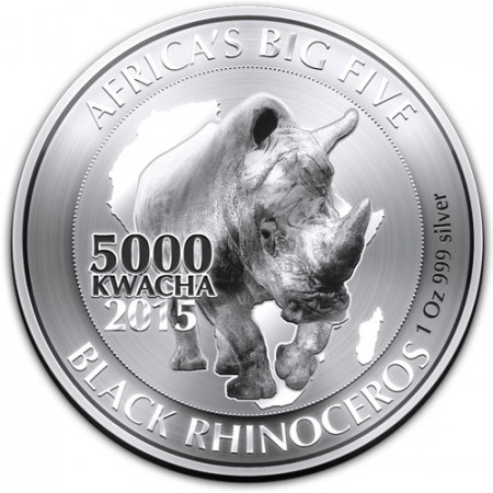 "2015 * 5000 Kwacha 1 OZ Zambia ""Rinoceronte Nero"" Proof"