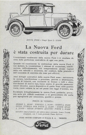 "1928 * Advertising Original ""Ford - Coupè Sport"" in Passepartout"