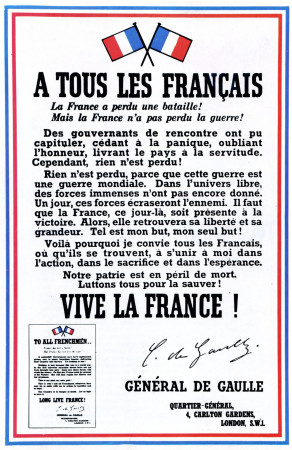 "ND (WWII) * War Propaganda Reproduction ""Francia - A Tutti I Francesi"" in Passepartout"