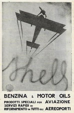 """1932 * Advertising Original """"Shell - Prodotti Speciali per Aviazione - FELIX"""" in Passepartout"""