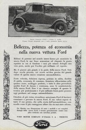 """1928 * Advertising Original """"Ford - Cabriolet"""" in Passepartout"""