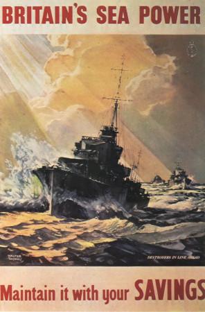 """ND (WWII) * War Propaganda Reproduction """"Gran Bretagna - Assicura La Potenza Marittima Britannica"""" in Passepartout"""
