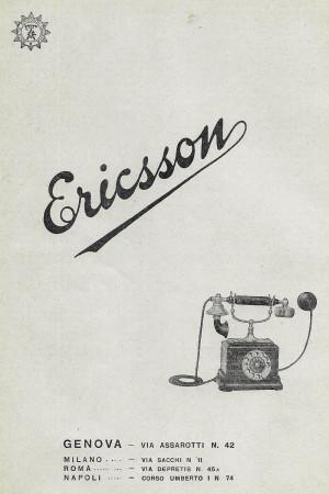 """1928 * Advertising Original """"Ericsson"""" in Passepartout"""