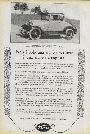 "1928 * Advertising Original ""Ford - Nuovo Coupè"" in Passepartout"