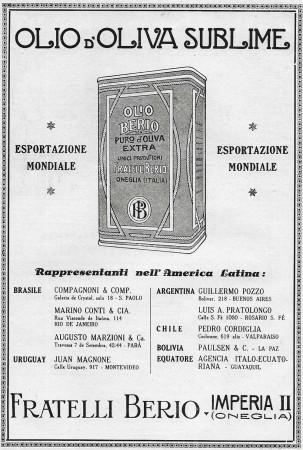 """1928 * Advertising Original """"Olio Berio - Rappresentanti nell'America Latina"""" in Passepartout"""