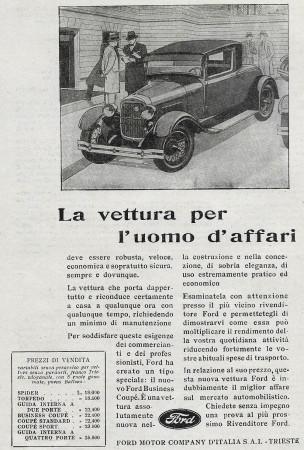"1929 * Advertising Original ""Ford - La Vettura Per L'Uomo d'Affari"" in Passepartout"