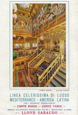 """1930 * Advertising Original """"Lloyd Sabaudo - Linea Celerissima Di Lusso Conte Rosso e Verde"""" in Passepartout"""
