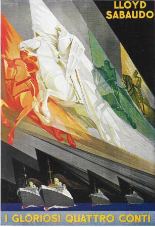 """1928 * Advertising Original """"Lloyd Sabaudo - I Gloriosi Quattro Conti - RICCOBALDI"""" in Passepartout"""