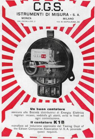 """1928 * Advertising Original """"CGS - Il Contatore K1B"""" in Passepartout"""