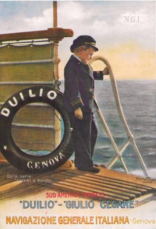 """1930 * Advertising Original """"Navigazione Generale Italiana - Bimbi A Bordo - STUDIO TESLA"""" in Passepartout"""