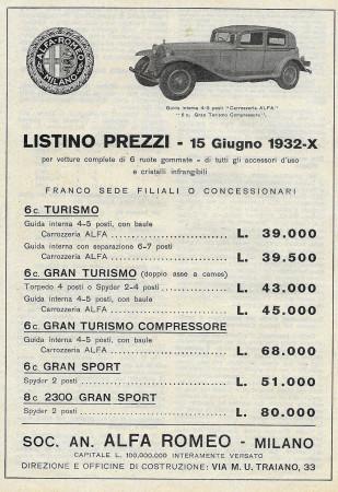 "1932 * Advertising Original ""Alfa Romeo - Listino Prezzi 15/6/32 - Modelli 4-5 Posti"" in Passepartout"