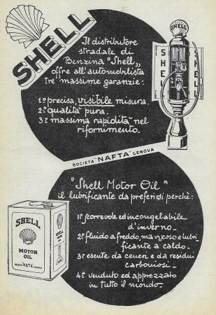 "1928 * Advertising Original ""Shell - Offre Tre Massime Garanzie"" in Passepartout"