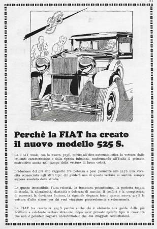 """1929 * Advertising Original """"Fiat - Nuovo Modello 525 S"""" in Passepartout"""