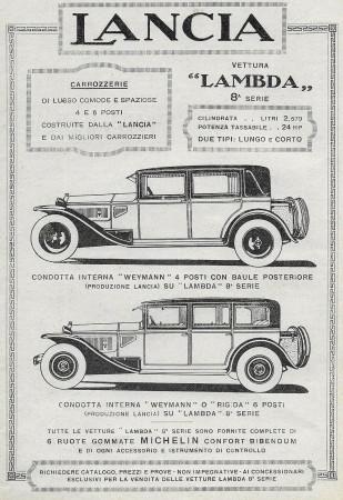 "1929 * Advertising Original ""Lancia - Lambda 8° Serie"" in Passepartout"