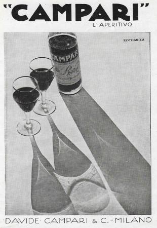 """1932 * Advertising Original """"Campari L'Aperitivo -  ROTOBROM"""" in Passepartout"""