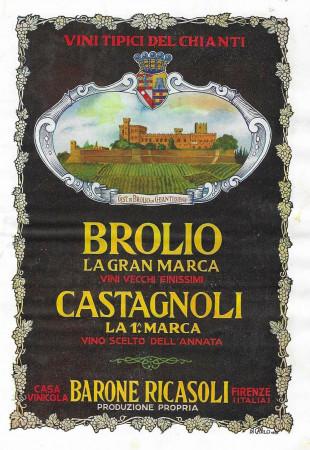 """1928 * Advertising Original """"Chianti Brolio Barone Ricasoli - DI CARLO"""" in Passepartout"""