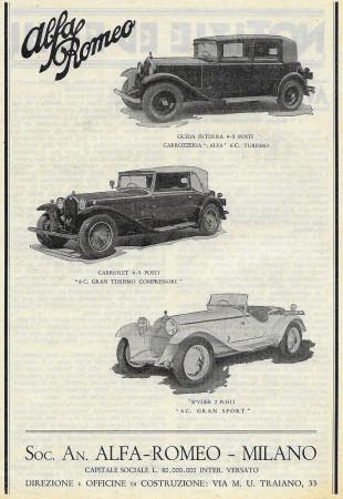 """1932 * Advertising Original """"Alfa Romeo - Vetture Cabriolet e Spider"""" in Passepartout"""